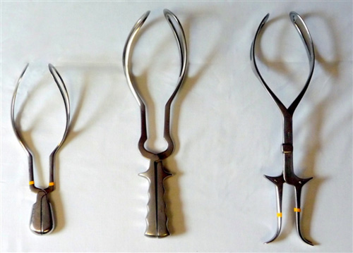 Image showing Outlet forceps (left), low or mid-cavity forceps (centre) and rotational forceps (right).