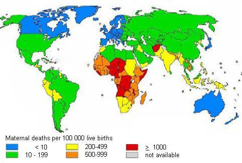 Illustrated map image showing number of maternal deaths per 100,000 live births, provided by WHO.