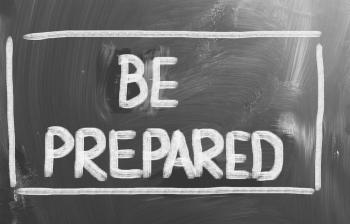Image showing 'Be prepared' sign.