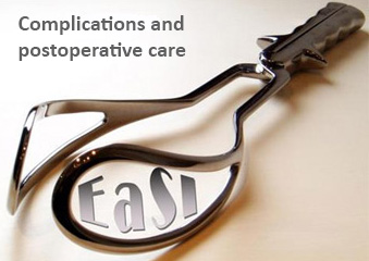 Image showing medical equipment with the words 'EaSI' and 'Complications and postoperative care'.