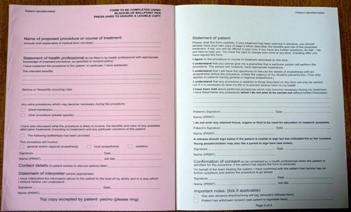 Image showing consent form.