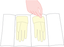 Illustrated image showing open glove technique.