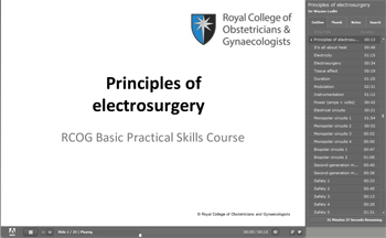 Powerpoint slide image showing 'Principles of electrosurgery' title.