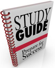 Image of a ringbound study guide with 'Study guide: prepare for success' on the cover.